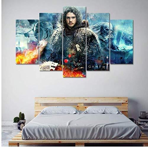 JRDWLH Impressions sur Toile 5 Pièces Photos Moderne Toile Salon Home Decor Game of Thrones Peintures Mur Modulaire Affiche d'art Pas De Cadre