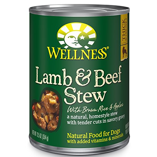 Wellness Thick & Chunky Wet Dog Food with Grains, Lamb & Beef Stew with Brown Rice & Apples, 12.5 Ounce Can (Pack of 12)