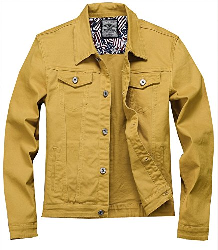 Kedera Men Denim Jacket Casual Slim Fit Button Down Biker Jeans (Yellow, Medium)