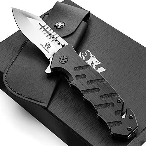 Wolfgangs Survival-Klapp-Messer AUXILUM aus 440C Stahl - Einhändig bedienbares Outdoor-Messer mit Glasbrecher & Gurtschneider (Silber)