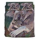 Facbalaign Koala Mom Sohn Liebe Juego de ropa de cama de 4 piezas, lavable, hipoalergénico, pintura en el lado de inicio, color blanco, 228 x 228 cm