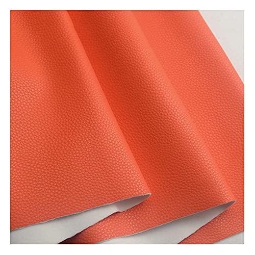 PU Tela de Imitación de Cuero Polipiel Litchi Material Suave de Primera Calidad, para Manualidades de Tapicería, Costura de Bricolaje, Renovación de Sofás, 138 X 100 Cm,Orange Red
