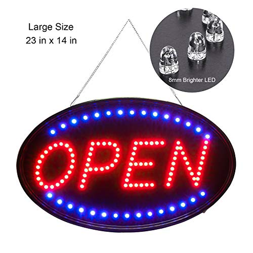 Larger LED Open Sign, 23x14 inches Brighter&Larger Advertising Board Electric Lighted Display -UL-Flashing or Steady Mode- Lighting Up for Holiday, Business, Window, Bar (Oval 23x14 inch)