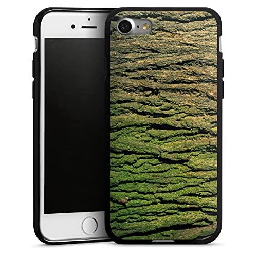 DeinDesign Silikon Hülle kompatibel mit Apple iPhone 8 Hülle schwarz Handyhülle Holzoptik Natur Baumstamm
