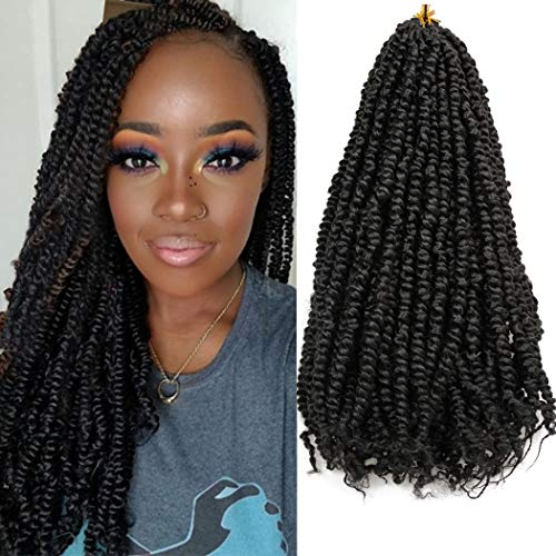 8 Packs Pre-twisted Passion Twist Hair for Crochet 18 Inch Pre-looped Passion Twists Crochet Hair Extension Pretwisted Synthetic Crochet Braids (12strands/pack, 1B#)