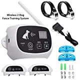 Dog Fence Wireless Containment System,Focuspet Wire Free Fencing 2 Collars Receiver 500M Radius Remote Control Rechargeable Waterproof Receiver Training Collar Beep/Tone static