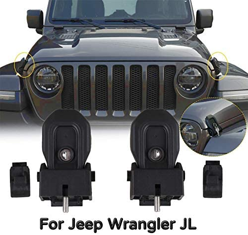TUZILLA Hood Latches for 2018 2019 2020 2021 Jeep Wrangler JL Anti Theft Hood Lock Catch Latches product image