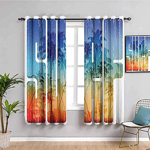 ZLYYH kids bedroom curtains Retro trees minimalistic letters W110'xL94'(55'x94'x2 panels) Blackout Curtains for Bedroom – Thermal Insulated, Energy Saving & Noise Reducing Grommet Curtains for Living
