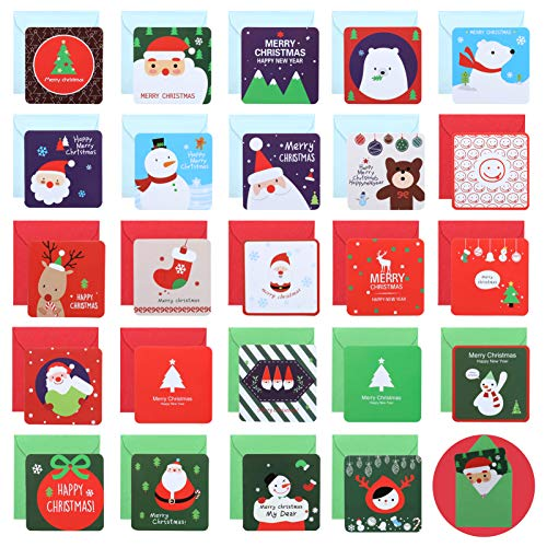 Naler 24 Pack Mini Christmas Greeting Cards & Envelopes Merry Christmas Greeting Cards Blank Note Cards Xmas Card with Envelopes, 2.7 x 2.7 Inches