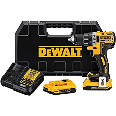 DEWALT DCD791D2 20V MAX XR Li-Ion 0.5  2.0Ah Brushless Compact Drill/Driver Kit