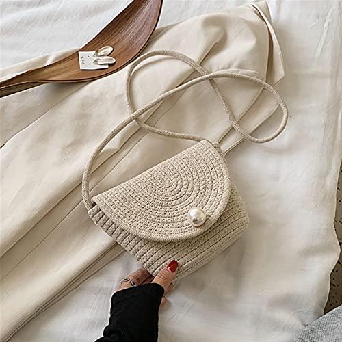 Bolsos de Paja Bolsa de paja tejida de verano pequeño bolso de mensajero de viaje de color sólido para damas, diseño femenino del hombro de la playa del diseño de la moda Bolsos Bandolera para Mujer