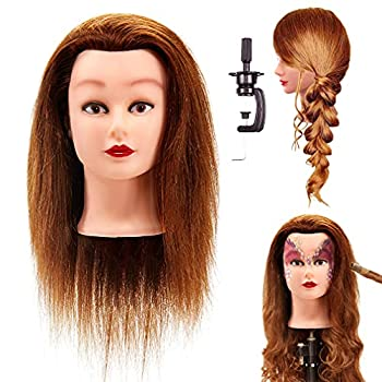 LuAiJa Cosmetology Mannequin Head with 100% Human Hair and Adjustable Stand 20-22  for Braiding Training Hairart Barber Hairdressing Fashion Salon  Brown