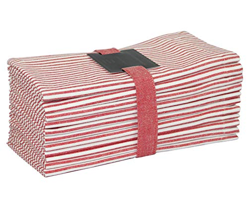 COTTON CRAFT Nantucket Set of 12 Pure Cotton Oversized Dinner Napkins, 20 inch by 20 inch, Red