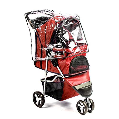 BESTHLS Pet Stroller for Cats/Dogs, 3 Wheel Dog Stroller with Removable Liner, Storage Basket and Cup Holder, Bonus Rain Cover (Red)