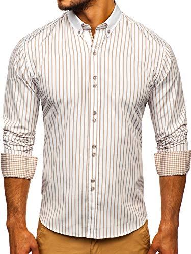 BOLF Hombre Camisa de Manga Larga con Rayas Cuello Americano Camisa de Algodón Slim fit Estilo Casual 9713 Beige L [2B2]