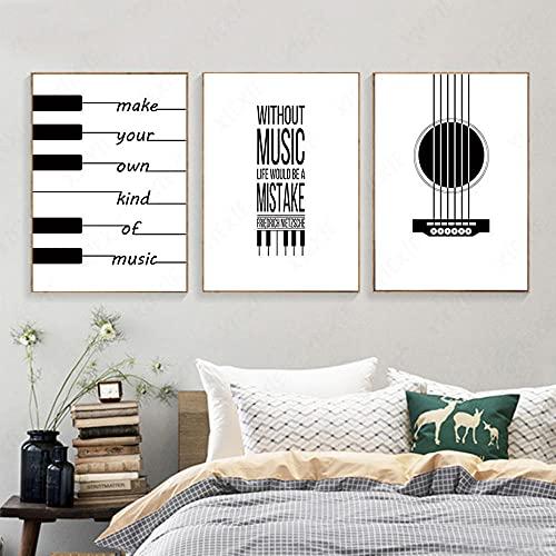 WAFENGNGAI quadri Nordic Astratto Bianco E Nero Pianoforte Tastiera Spartiti Testo Tela Pittura Arte muraria Foto Manifesto Decorazione Della Stanza-50X70Cmx3 Senza Cornice