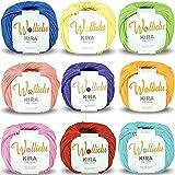Wollidu Kira 100 % Baumwolle zum Stricken und Häkeln 9 x 50g Set Häkelgarn Strickgarn Bunt Farbmix 1
