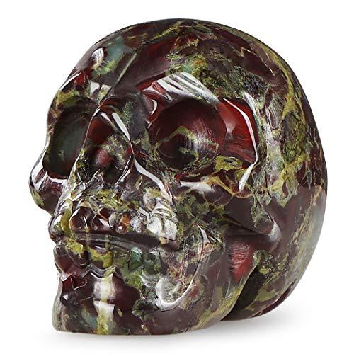 Artistone 2.0' Dragon Blood Skull Statue,Hand Carved Crystal Gemstone Fine Art Sculpture, Carving Human Skull Figure Reiki Healing Stone Statue for Home, Office Decor(Gift Box)