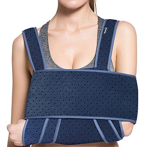 VELPEAU Arm Sling Shoulder Immobilizer - Can Be Used During Sleep - Rotator Cuff Support Brace - Adjustable Medical Sling for Broken & Fractured Bones, Dislocation, Sprains, Strains & Tears (Large)