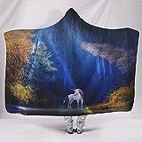 Zseeda Pacífica Uincorn Woods Noche Fantasía Animal Bosque Luz de Luna Obra de Arte Tradicional Mimoso Campamento de Viaje Encubrimiento Abrazar Sudadera con Capucha Mantas