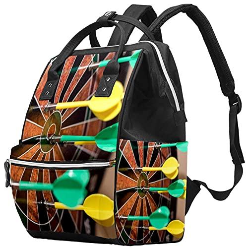 WJJSXKA Rucksäcke Wickeltasche Laptop Notebook Rucksack Reise Wandern Tagesrucksack für Damen Herren - grün und gelb auf Dartscheibe