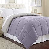 Amrapur Overseas Goose Down Alternative Microfiber Quilted Reversible Comforter/Duvet Insert - Ultra Soft Hypoallergenic Bedding - Medium Warmth for All Seasons - [Full/Queen, Amethyst/Silver]