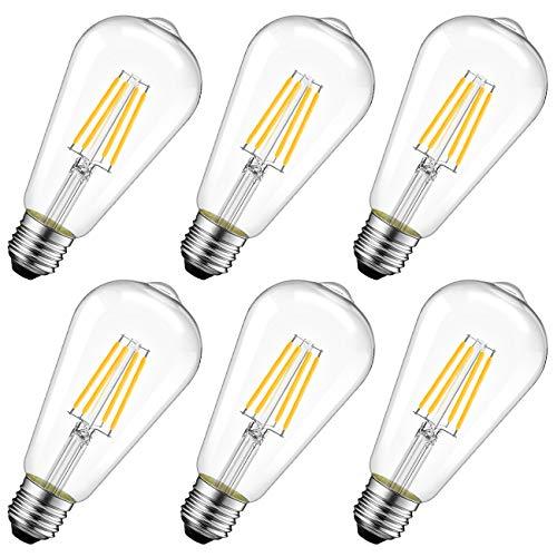 LVWIT Edison LED E27, 11W erstezt 100W, 1521 lm, Filament Retro ST64, Warmweiß 2700K, Vintage Glühbirnen Nostalgie Stil (6er Pack)