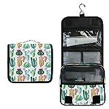 ALARGE - Bolsa de aseo para colgar en acuarela, diseño de cactus tropicales tropicales, bolsa grande de viaje portátil para cosméticos, organizador de maquillaje para mujeres y hombres