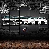 YFTNIPL Impresión 5 Piezas Lienzo Nissan Skyline GTR Evolution Casa Sala Oficina Regalo Decoración Mural HD Imágenes Póster 5 Piezas Artística Cuadros 5 Piezas De Pared Fotos Cuadros En Lienzo