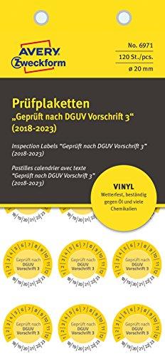 AVERY Zweckform 6971 widerstandsfähige Prüfplaketten 2018-2023 (stark selbstklebend, Kleinformat, Ø 20 mm, 120 Aufkleber auf 8 Blatt) gelb