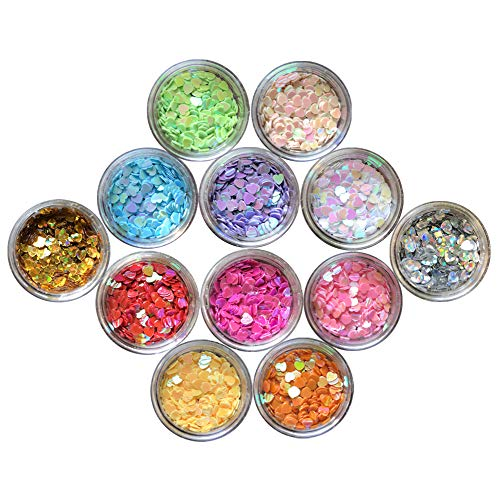 Nail Glitter 12 Boxes Heart Nail Art Flakes Hexagon Confetti Festival Glitter Colorful Chunky Glitters for Hair Face and Eye Make Up Foil Flakes (12Colors,Heart-shaped)
