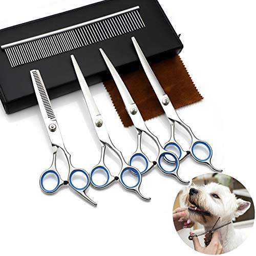 Ubrand Professional Dog Grooming Scissors Kit, 5pcs6'' Pet Cat Shears Kit Stainless Steel with Safety Round Tip Heavy Duty Titanium Coated Thinning/Straight/Curved Shears Comb for Pet