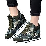 Memefood Zapatillas Planas Mujer Camouflage De Cordones Con Cuña Interior Zapatos Deportivos Casuales Aire Libre Para Correr Fitness Gimnasia Sneaker Calzados 36EU-40.5EU(Camuflaje, 37.5)