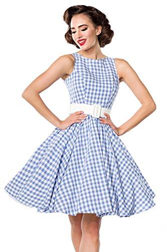 Belsira Karokjurk korte jurk lichtblauw/wit