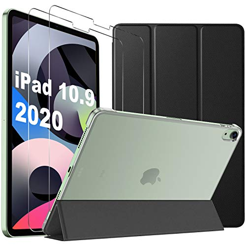 IVSO for New iPad Air 4th Generation 2020 Case + Screen Protector[2 Pack], for New iPad Air 4 10.9 Inch 2020 Case with Tempered Glass, Shockproof Protective Cover Shell with Pencil Holder - Black