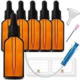 6x50ml Flaconi Bottiglie in Vetro Contagocce - compreso 16 accessori parti...