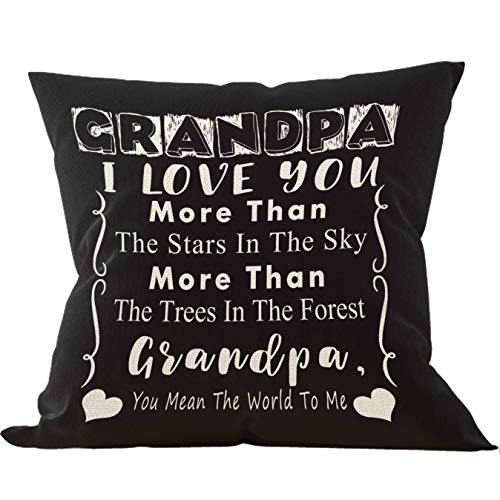 Grandpa I Love You More Than The Stars in The Sky More Throw Pillow Cover, Onederful Grandpa Gifts from Grandchildren, Grandpa Gifts, 18 x 18 Inch Decorative Linen Cushion Cover for Sofa Couch Bed