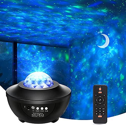 LED Sternenhimmel Projektor, BrizLabs Sternenlicht Projektor Galaxy Light mit 360°Drehen Ozeanwellen Fernbedienung Bluetooth Musikspieler Timer Nachtlichter für Kinder Zimmer Party Weihnachten Ostern