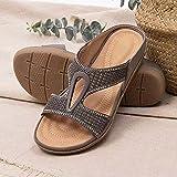 XLBHSH Sandali da Donna con Plateau Open Toe Cork Zeppa Flatform Sandali Estivi Casual Beach Sandals,Grigio,40