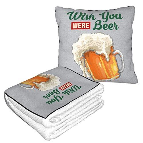 Wish You were Beer Glass of Beer Pixel Art Manta de viaje y almohada 2 en 1, manta de avión, almohada de cuello de viaje y manta