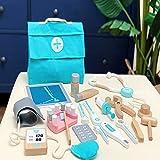 PPuujia 18 unids niños de madera simulación juego doctor juguete estetoscopio inyección set bebé temprano juguetes educativos para niños pequeños regalo