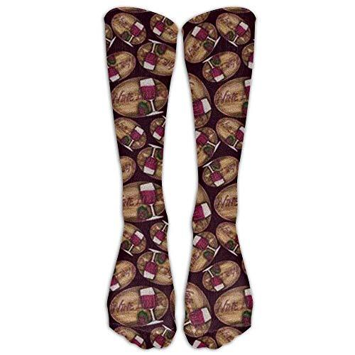 Rode wijn chocolade compressie sokken voetbal sokken hoge sokken lange sokken (50 cm)