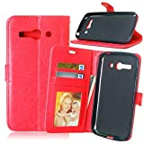 JEEXIA® Funda para Alcatel OneTouch Pop C9, Moda Business Flip Wallet Case Cover PU Cuero con Soporte Cubierta Protectora - Rojo