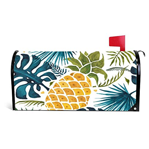 Yilooom Golden Pineapple Blue Palm Leaves Foliage White Mailbox Cover Magnetic Mail Box Wrap Yard Garden Decor 17.25 X 20.75 Inches