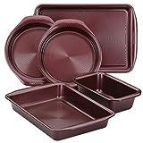 Circulon Nonstick Bakeware Set with Nonstick Bread Pan, Baking Pan, Cookie Sheet / Baking Sheet and Cake Pans - 5 Piece, Merlot Red