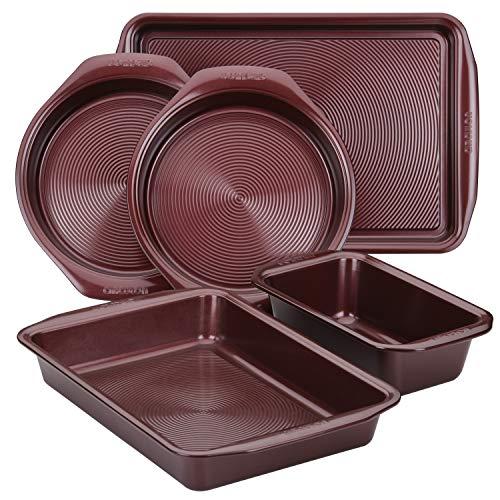 Circulon Nonstick Bakeware Set with Nonstick Bread Pan, Baking Pan, Cookie Sheet / Baking Sheet and Cake Pans – 5 Piece, Merlot Red