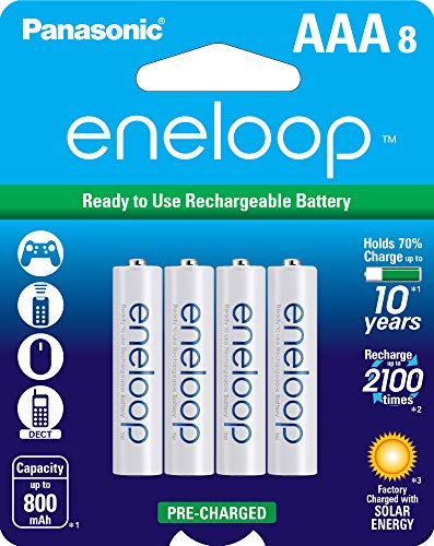 Panasonic Eneloop AAA 2100 Cycle Ni-MH Pre-Charged Rechargeable Batteries, 8 Pack $15.89