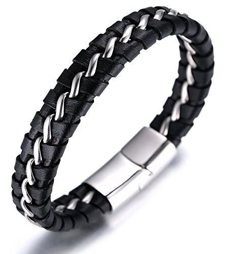 Halukakah Kids  Solo Junior  Boy's Genuine Leather Bracelet Black 6-12 Y/O. Titanium Silver Chain Magnetic Clasp 7'/18cm with Free Giftbox