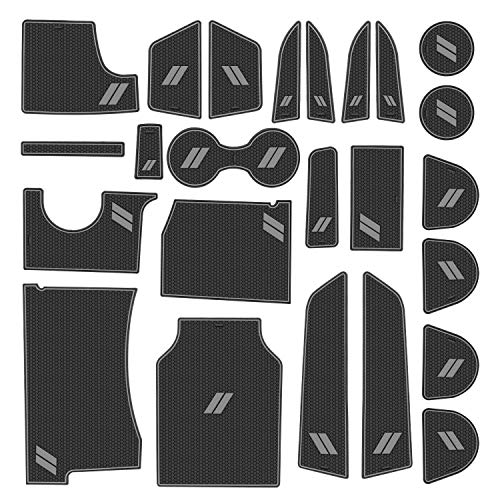 ABESTcar Cup Holder Insert for Dodge Charger 2021 2020 2019 2018 2017 2016 2015 Interior Accessories Cup Door Center Console Liner Mat Pad(26-pc Set, Gray Trim)