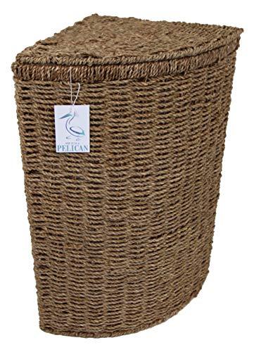 Zeegras Wasserij & Wasmanden. Hoekvormen met deksels. Afneembare wasbare voering. Natuurlijke opslagoplossing. Kleding, linnen badkamer of slaapkamer